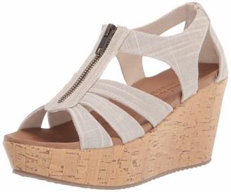 Skechers Brit - Living Heights - Sparkle Linen Zipper Wedge Quarter Strap Sandal
