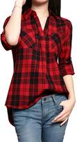 Allegra K Women's Point Collar V-Neck High Low Hem Long Sleeves Plaid Shirt S