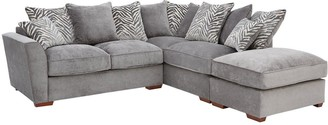 Kingston Fabric Right Hand Scatter Back Corner Chaise Sofa with Footstool
