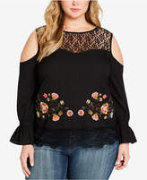Jessica Simpson Trendy Plus Size Cold-Shoulder Peplum Top