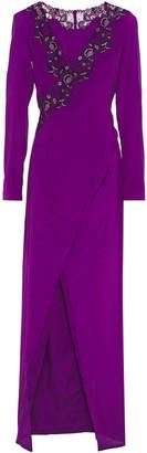La Perla Castle Garden Wrap-effect Embellished Stretch-silk Nightdress
