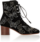 Valentino Women's Studded Butterfly Suede Ankle Boots