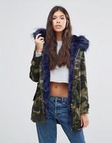 Boohoo Contrast Faux Fur Parka