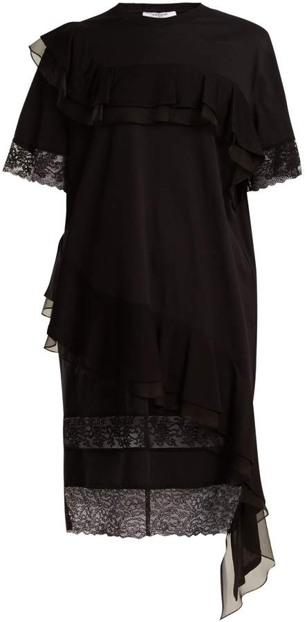 Givenchy Asymmetric ruffled-trimmed cotton-jersey dress
