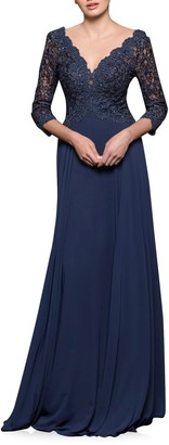Marsoni By Colors V-Neck Lace & Chiffon Trumpet Gown
