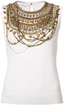 Oscar de la Renta sleeveless gold chain layer tank top - women - Silk/Virgin Wool - S