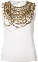 Oscar de la Renta sleeveless gold chain layer tank top - women - Silk/Virgin Wool - S