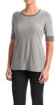 Pendleton Contrast Trim Sweater - Merino Wool, Short Sleeve (For Women)