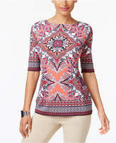 Charter Club Scarf-Print Top, Created for Macy's