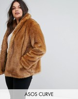 Asos Coat In Vintage Faux Fur