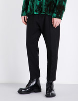 Ann Demeulemeester Dropped-crotch tapered regular-fit wool trousers