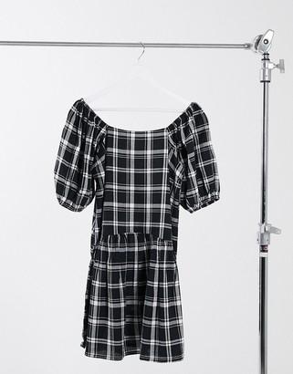 Violet Romance puff sleeve drop waist mini dress in monochrome check