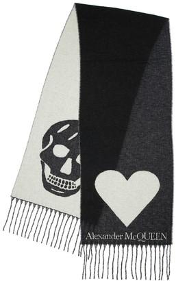 Alexander McQueen Skull & Heart Intarsia Wool Blend Scarf