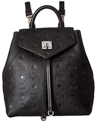 MCM Essential Monogrammed Leather Backpack Small (Black) Backpack Bags