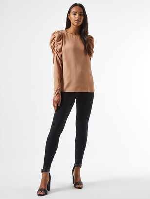 Dorothy Perkins Sustainable Long Sleeve Puff Shoulder Top - Camel