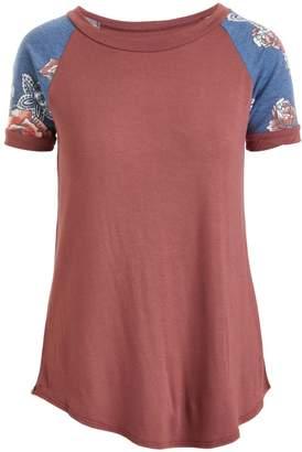 Cool Melon Women's Tee Shirts Marsala - Marsala & Dark Denim Blue Floral Raglan Tee - Women