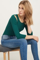 Dynamite Ribbed Knit Top with Shoulder Slits