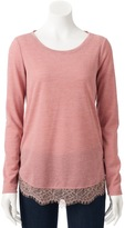Lauren Conrad Women's Lace Trim Top
