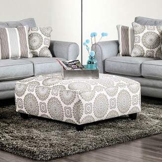 Furniture of America Nia Transitional Blue Fabric Upholstered Ottoman