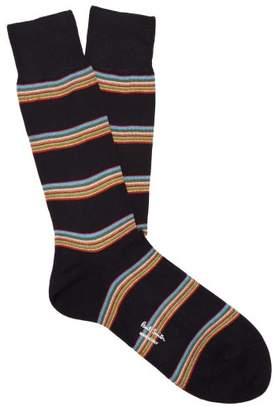 Paul Smith Striped Cotton Blend Socks - Mens - Navy