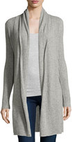 Neiman Marcus Cashmere Open-Front Long Cardigan, Heather Gray