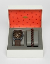 Fossil Brown Leather Watch & Bracelet Gift Set