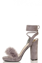 Quiz Grey Feather Lace Up Block Heel Sandals
