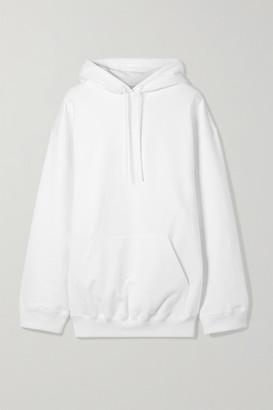 Balenciaga Oversized Printed Cotton Jersey Hoodie - White