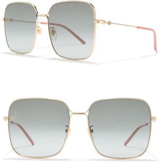 Gucci 60mm Square Wire Sunglasses