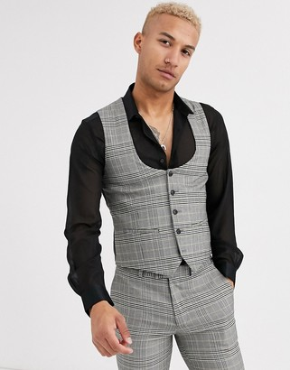 Topman suit waistcoat in grey house check