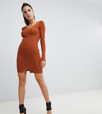 Parallel Lines bandage bodycon dress with split front detail-Tan