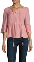 Lucca Couture Inset Cuff Tassel Tie Blouse
