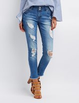 Charlotte Russe Refuge Crop Boyfriend Destroyed Jeans