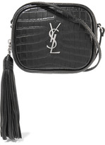 Saint Laurent Monogramme Blogger Croc-effect Leather Shoulder Bag - Black
