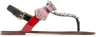 Dolce & Gabbana Embellished Color-block Patent-leather And Ayers Sandals