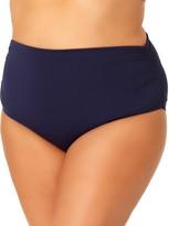 Anne Cole Women's Bikini Bottoms NAVY - Navy High-Waist Shirred Bikini Bottoms - Plus