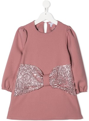 Piccola Ludo Sequinned Bow Flared Dress