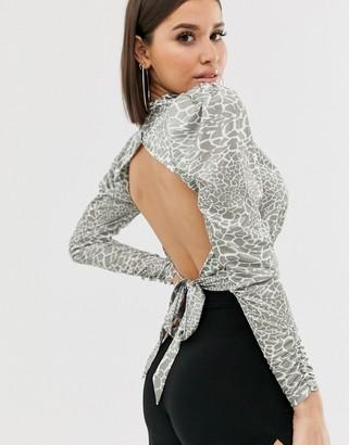 Asos Design DESIGN cowl neck long sleeve backless top in animal-Multi
