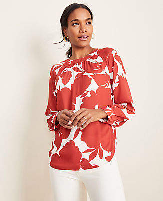 Ann Taylor Tall Floral Shirred Neck Blouse
