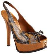 Fendi tan snake print leather singback peeptoe pumps