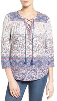 Lucky Brand Women's Print Peasant Blouse