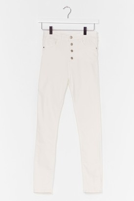 Nasty Gal Womens We Jean Business High-Waisted Skinny Jeans - Cream - S