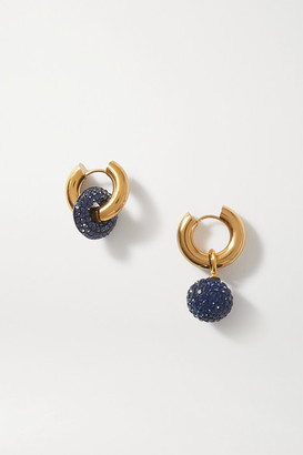 Timeless Pearly Gold-tone Crystal Earrings - Navy