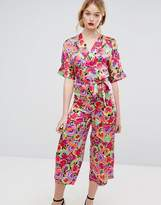 Warehouse Premium Silk Pansy Print Wrap Jumpsuit