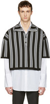 Raf Simons Black & Grey Stripe Oversized Cropped Polo