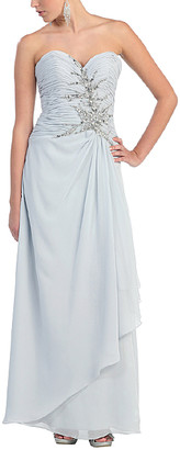 Mayqueen MayQueen Women's Special Occasion Dresses Silver - Silver Strapless Gown & Shrug - Women