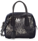 MCM Munich Collection Boston Leather & Genuine Calf Hair Mini Satchel