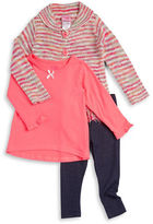 Nannette Girls 2-6x Button-Down Sweater, Tee and Leggings Set