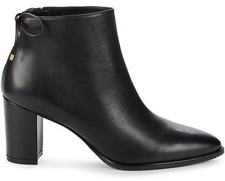 Stuart Weitzman Gardiner Leather Stack Heel Booties