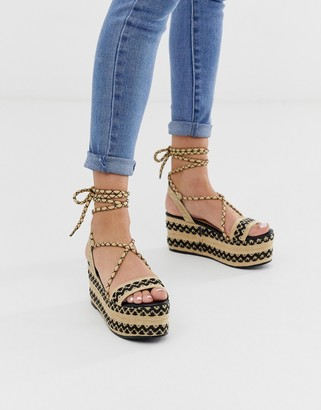 Glamorous black ankle tie espadrille flatform sandals